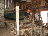 Setting the log up on the carriage